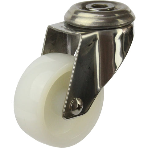 MSSWNA75BH <span>80 Kg Bolt-Hole 75mm Stainless Steel White Nylon</span>