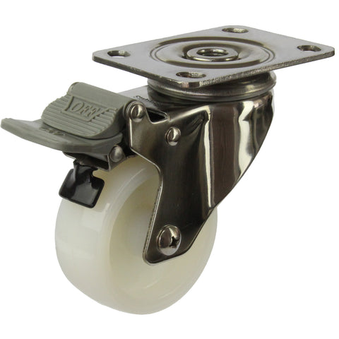 MSSWNA75STB <span>80 Kg Swivel Plate Total Brake 75mm Stainless Steel White Nylon</span>
