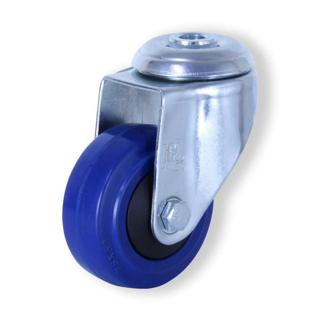 MZH07532-BPB 80kg Zinc Castor <span>Bolt-Hole N/A Blue Rubber 75mm x 32mm</span>