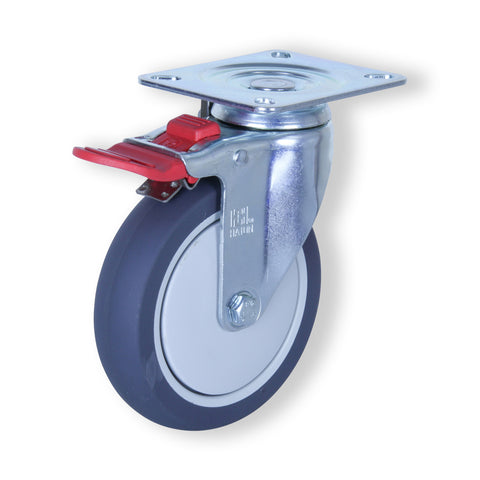MZST12532-UPB 110kg Zinc Castor <span>Swivel Total Brake P/U on Nylon 125mm x 32mm</span>