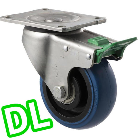OBQ125/OZPDL <span>330 Kg Swivel Plate <strong>Direction Lock Only</strong> 125mm Blue Rubber</span>