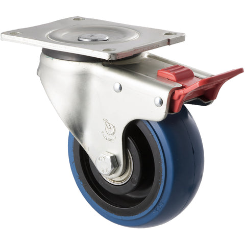 OBQ125/OZPTB <span>330 Kg Swivel Plate Total Brake 125mm Blue Rubber</span>