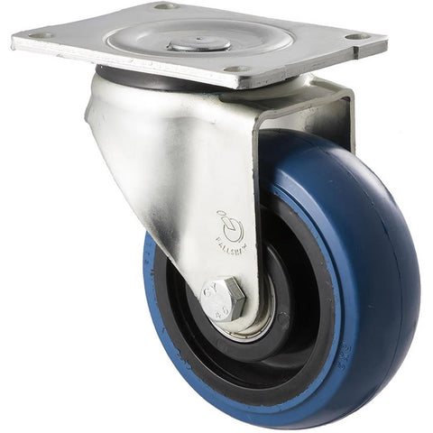 OBQ125/OZP <span>330 Kg Swivel Plate 125mm Blue Rubber</span>