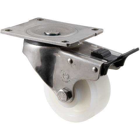 ONA100WS/OSPTB <span>350 Kg Stainless Steel Swivel Plate Total Brake 100mm White Nylon</span>