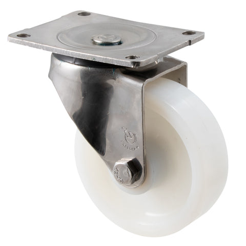 ONA125WS/OSP <span>380 Kg Stainless Steel Swivel Plate 125mm White Nylon</span>