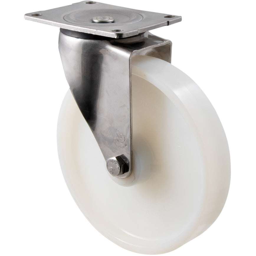 ONA200WS/OSP 500 Kg Stainless Steel Castor <span>Swivel White Nylon 200mm x 40mm</span>