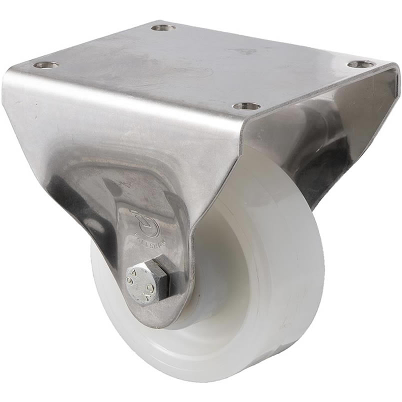 ONS100W/OSF 350 Kg Stainless Steel Castor <span>Fixed White Nylon 100mm x 40mm</span>