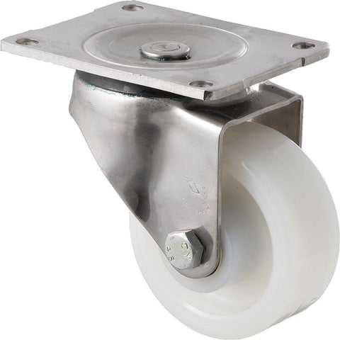 ONS100W/OSP <span>350 Kg Stainless Steel Swivel Plate 100mm White Nylon</span>