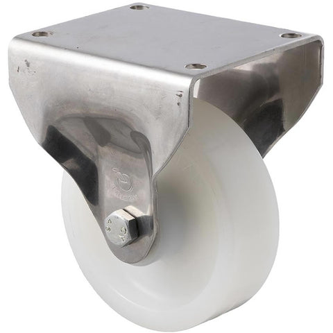 ONS125W/OSF 400 Kg Stainless Steel Castor <span>Fixed White Nylon 125mm x 40mm</span>
