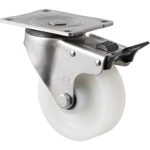 ONS125W/OSPTB <span>380 Kg Stainless Steel Swivel Plate Total Brake 125mm White Nylon</span>
