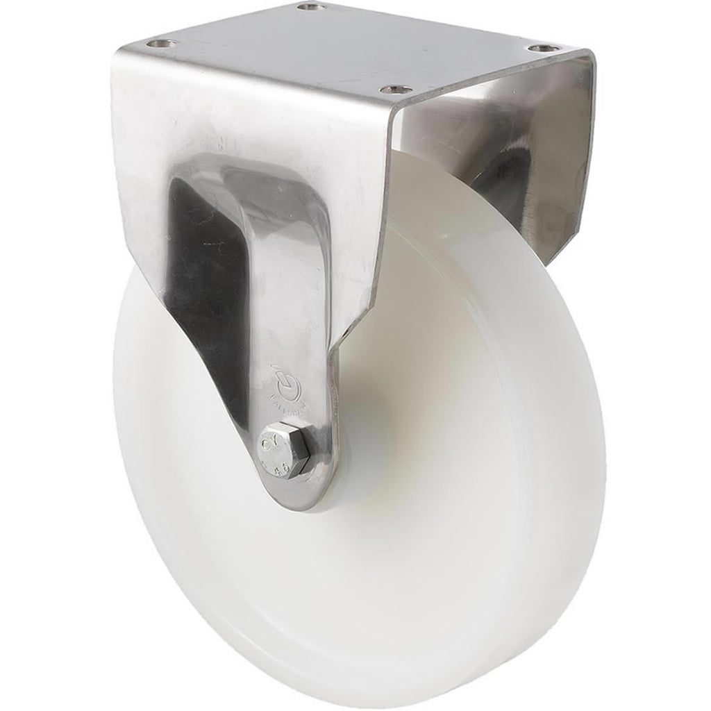 ONS200W/OSF 500 Kg Stainless Steel Castor <span>Fixed White Nylon 200mm x 40mm</span>
