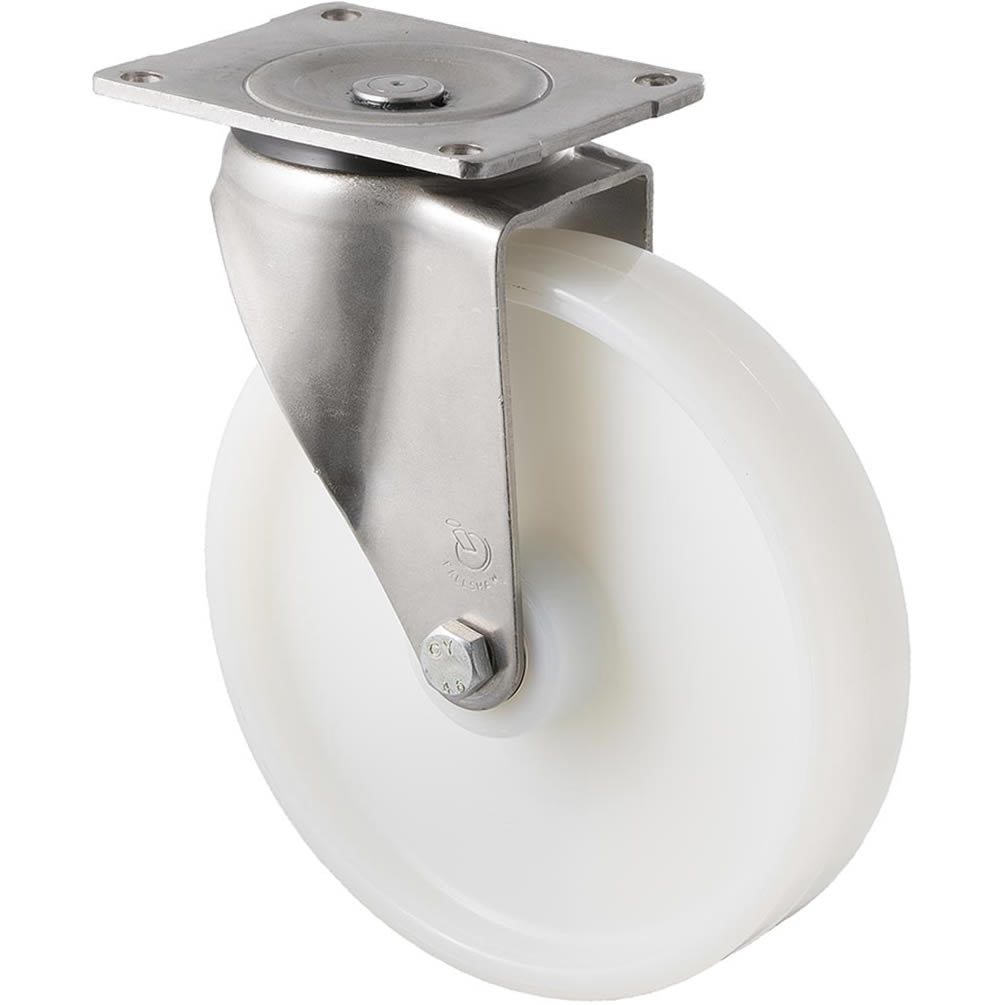 ONS200W/OSP 500 Kg Stainless Steel Castor <span>Swivel White Nylon 200mm x 40mm</span>