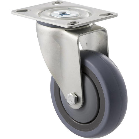 STQ100G/MZP <span>100 Kg Swivel Plate 100mm Grey Rubber</span>