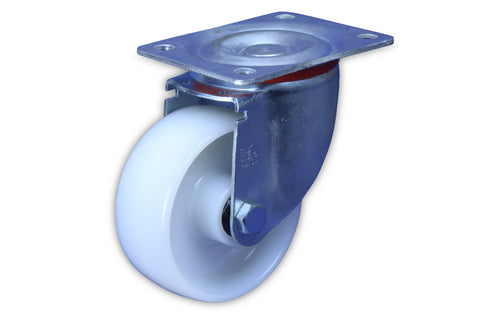SZS12550-NNI 400 Kg Zinc Castor <SPAN>Swivel White Nylon 125mm x 50mm</span>