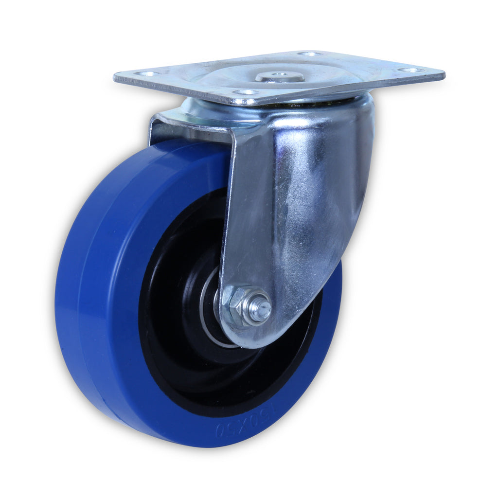 SZS15050-BPB 250 Kg Zinc Castor <SPAN>Swivel Blue Rubber 150mm x 50mm</span>