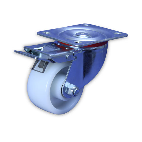 SZST10050-NNI <span> 350 Kg Swivel Plate Total Brake 100mm White Nylon</span>
