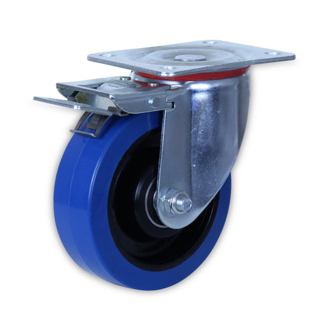 SZST15050-BPB 250 Kg Zinc Castor <SPAN>Swivel Total Brake Blue Rubber 150mm x 50mm</span>