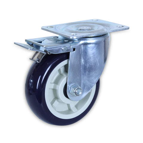 SZST15050-UPB 500 Kg Zinc Castor <span>Swivel Total Brake P/U on Polyprop 150mm x 50mm</span>