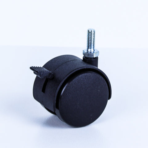 TW50-M8BR 40 Kg Black Plastic Castor <span>Swivel Wheel Brake Black Nylon 2x 50mm x 12mm</span>