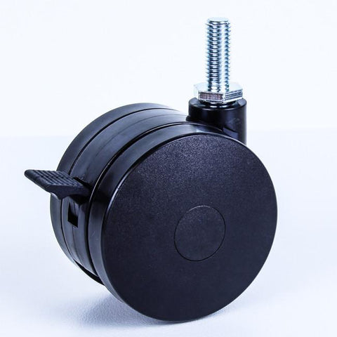 TW75-M10BR 75 Kg Black Plastic Castor <span>Swivel Wheel Brake Black Nylon 2x 75mm x 12mm</span>