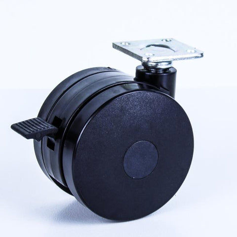 TW75PBR 75 Kg Black Plastic Castor <SPAN>Swivel Wheel Brake Black Nylon 2x 75mm x 12mm</span>