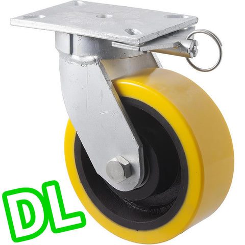 VUQ200/VZPDL <span>2000 Kg Swivel Plate <strong>Direction Lock Only</strong> 200mm Polyurethane</span>