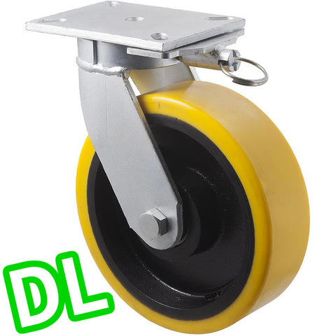 VUQ250/VZPDL <span>2000 Kg Swivel Plate <strong>Direction Lock Only</strong> 250mm Polyurethane</span>