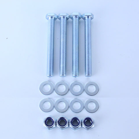 M10X90 Set Screw + Flat Washer + Nyloc Nut Pack of 4 each to suit Plate Mount Castors