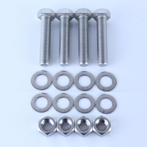 M12X60 S/S Set Screw + Flat Washer + Plain Nut Pack of 4 each to suit Plate Mount Castors