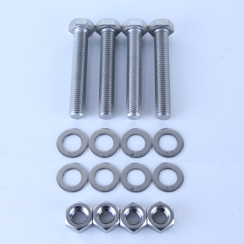 M12X75 S/S Set Screw + Flat Washer + Plain Nut Pack of 4 each to suit Plate Mount Castors