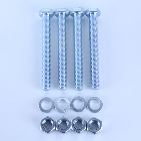 M10X90 Set Screw + Spring Washer + Plain Nut Pack of 4 each to suit Plate Mount Castors
