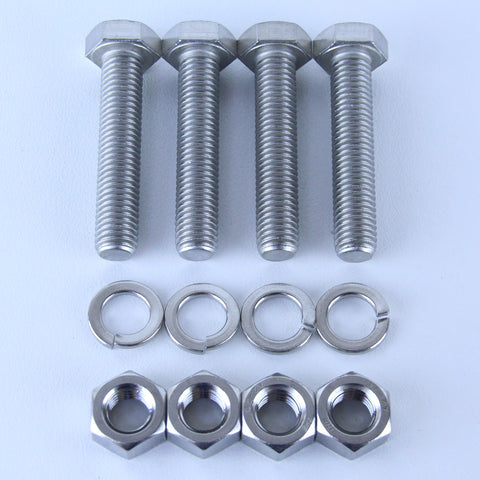 M12X60 S/S Set Screw + Spring Washer + Plain Nut Pack of 4 each to suit Plate Mount Castors