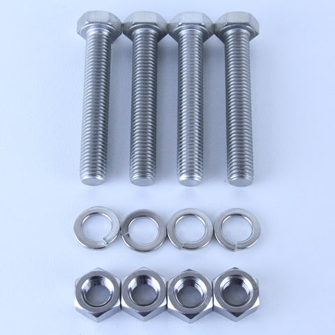 M12X75 S/S Set Screw + Spring Washer + Plain Nut Pack of 4 each to suit Plate Mount Castors