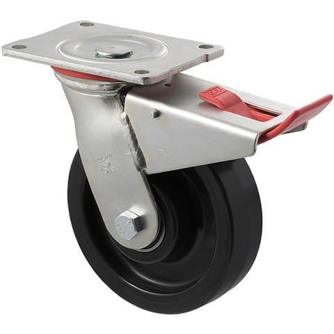 WNQ150/HZPTB H SERIES <span>600 Kg Swivel Plate Total Brake 150mm Black Nylon</span>