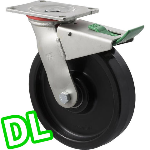 WNQ200/HZPDL H SERIES <span>600 Kg Swivel Plate <strong>Direction Lock Only</strong> 200mm Black Nylon</span>
