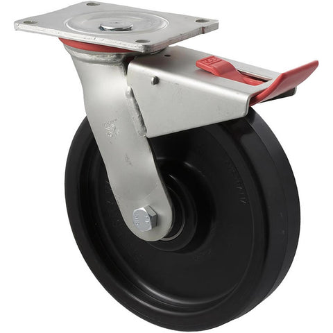 WNQ200/HZPTB H SERIES <span>600 Kg Swivel Plate Total Brake 200mm Black Nylon</span>