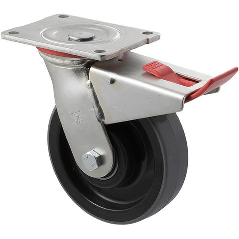 WUQ150/HZPTB H SERIES <span>600 Kg Swivel Plate Total Brake 150mm Polyurethane</span>