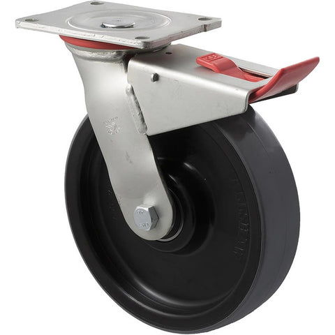 WUQ200/HZPTB H SERIES <span>600 Kg Swivel Plate Total Brake 200mm Polyurethane</span>