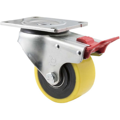 XUQ100/OZPTB <span>450 Kg Swivel Plate Total Brake 100mm Polyurethane</span>