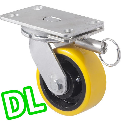 XUQ125/XZPDL <span>800 Kg Swivel Plate <strong>Direction Lock Only</strong> 125mm Polyurethane</span>
