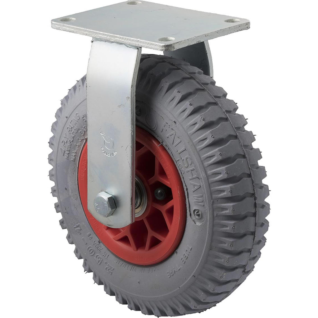 YLGG250/YZF 100 Kg Zinc Castor <span>Fixed Grey Rubber Pneumatic 220mm x 60mm</span>