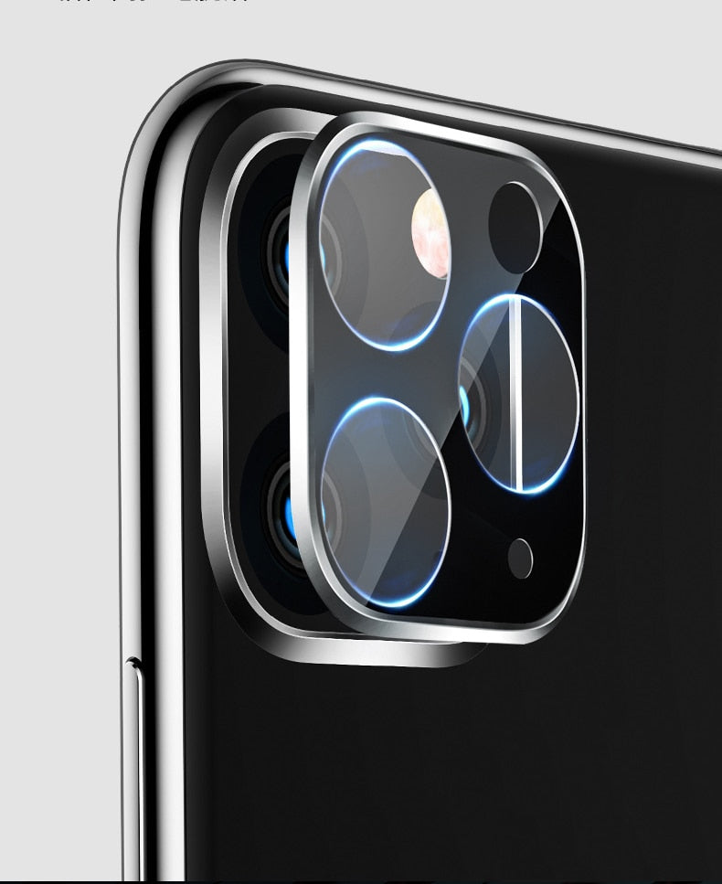 For iPhone 11 3D Full Back Camera Lens Screen Protector for iPhone 11 Pro Max 2019 Tempered Glass Film Aluminum Metal Lens Case