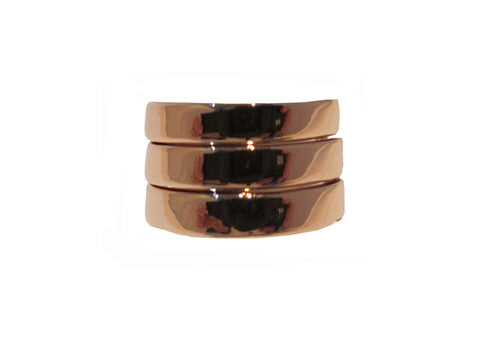 Izoa Rose Gold Set Of Three Rings