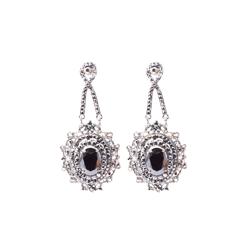 Izoa Bohemian Chandelier Earrings Black and Gunmetal