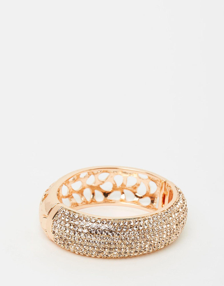 Izoa Rose Gold Nine Row Crystal Bangle