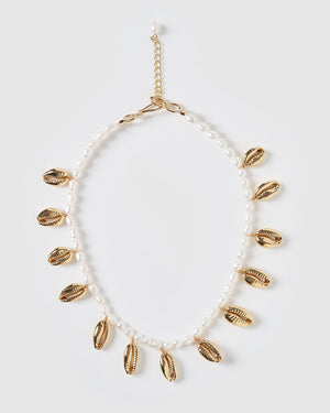Miz Casa & Co Abaco Freshwater Pearl Cowrie Shell Necklace Gold