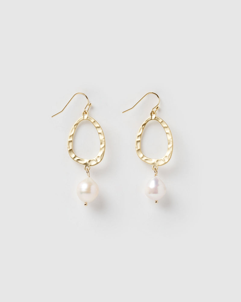 Izoa Aero Earrings Gold Freshwater Pearl