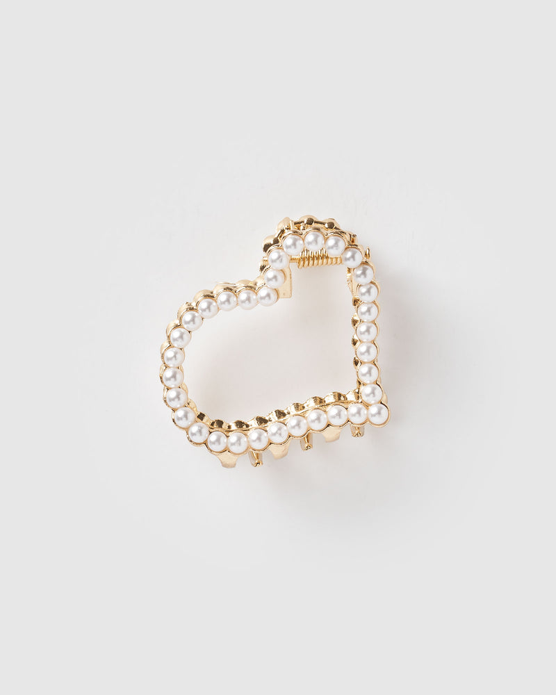 Izoa Amour Hair Clip Gold Pearl