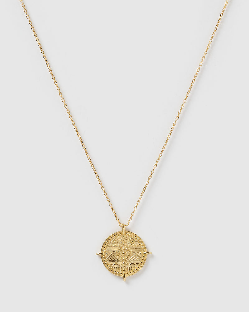 Izoa Ancient City Coin Necklace Gold