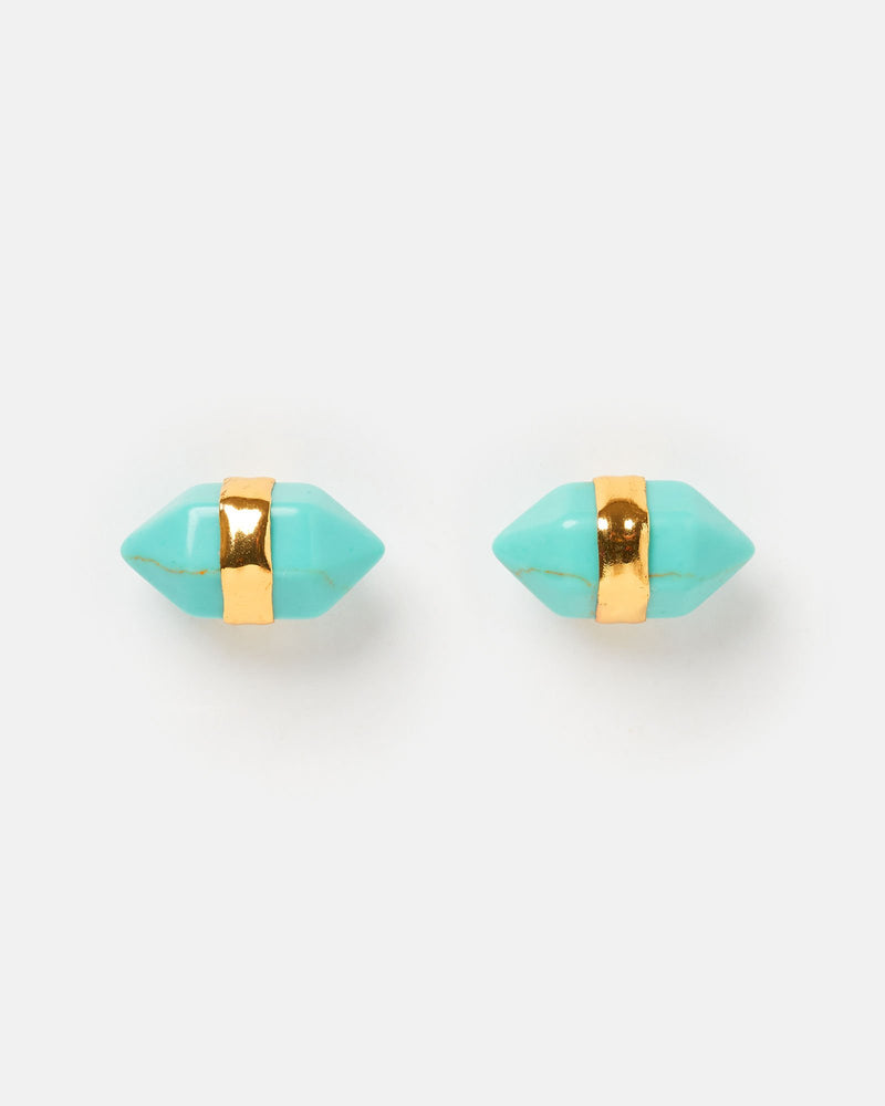 Miz Casa & Co Angel Fish Stud Earrings Turquoise Gold